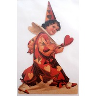 Victorian Turn Of The Century Valentine Easle Card Jester Clown Romantic Hearts