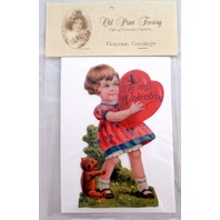 Victorian Turn Of The Century Valentine Card Easle Little Girl W/ Heart #Grc133