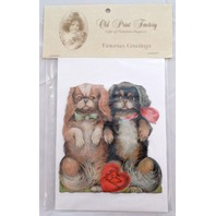 Victorian Turn Of The Century Valentine Card Easle Puppy Dog Pair #Grc134