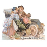 Victorian Turn Of The Century Christmas Card Children Kids With Old Car #Grc150