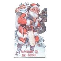 Victorian Turn Of The Century  Christmas Santa With Pack Of Toys Card  #Grc152