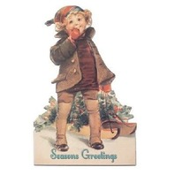 Victorian Turn Of The Century Christmas Card Boy With A Sled Greetings  #Grc153