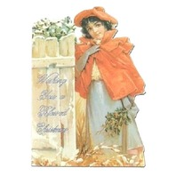 Victorian Turn Of The Century Christmas Card Holiday Greeting Girl Fence #Grc154