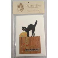 Victorian Turn Of The Century Happy Halloween Black Cat Greeting Card #Grc053