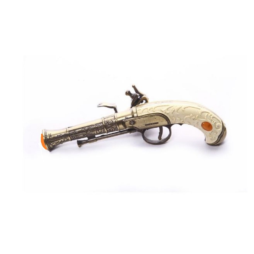 Antiqued Prop Gun  with White Grip and Brass accented Holster for Reenactments