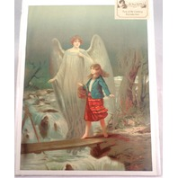 "Victorian Lithograph Print Picture ""Guardian Angel With Girl "" 12X16"