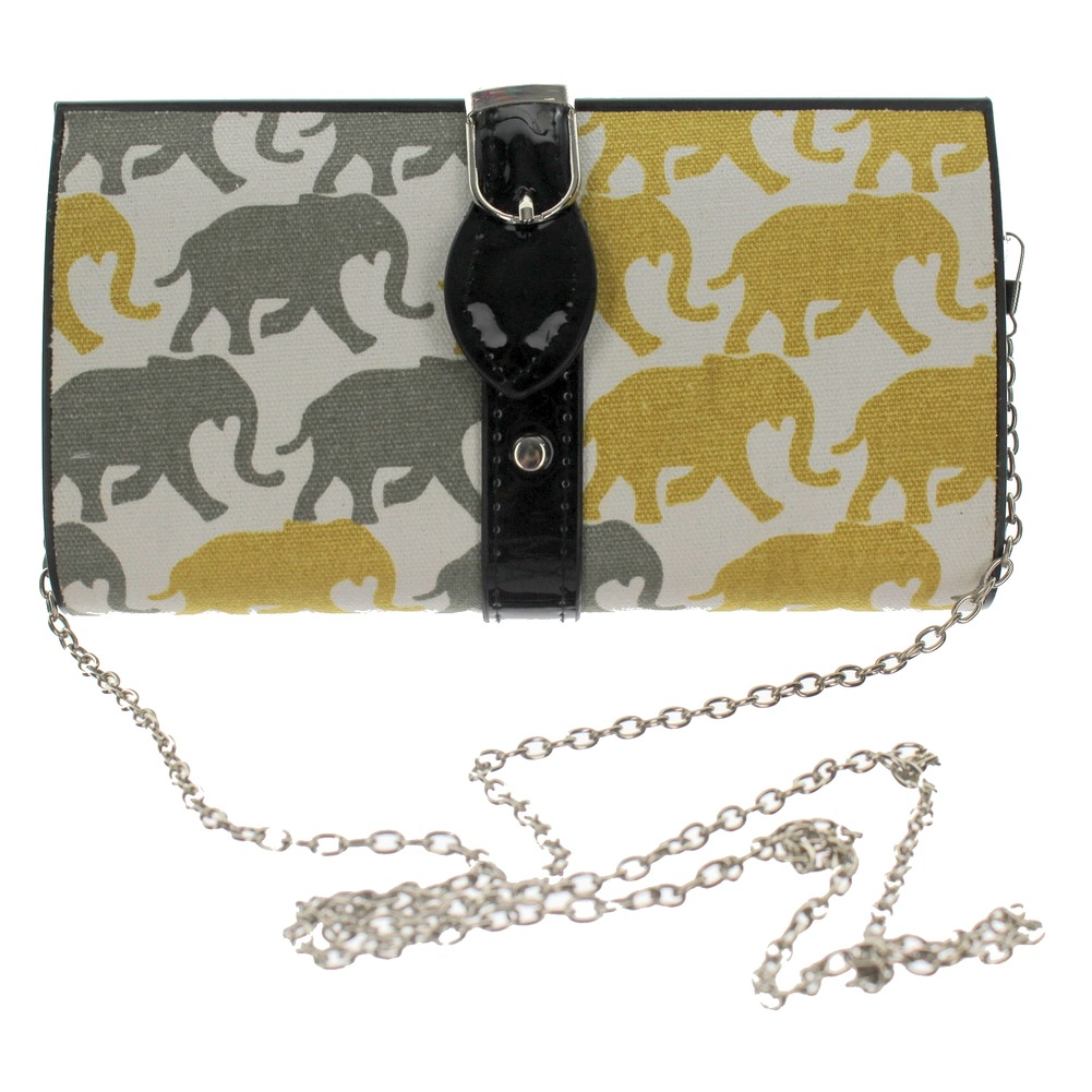 Grey and Yellow Elephant Hard-Shell Evening Clutch Bag Purse Handbag