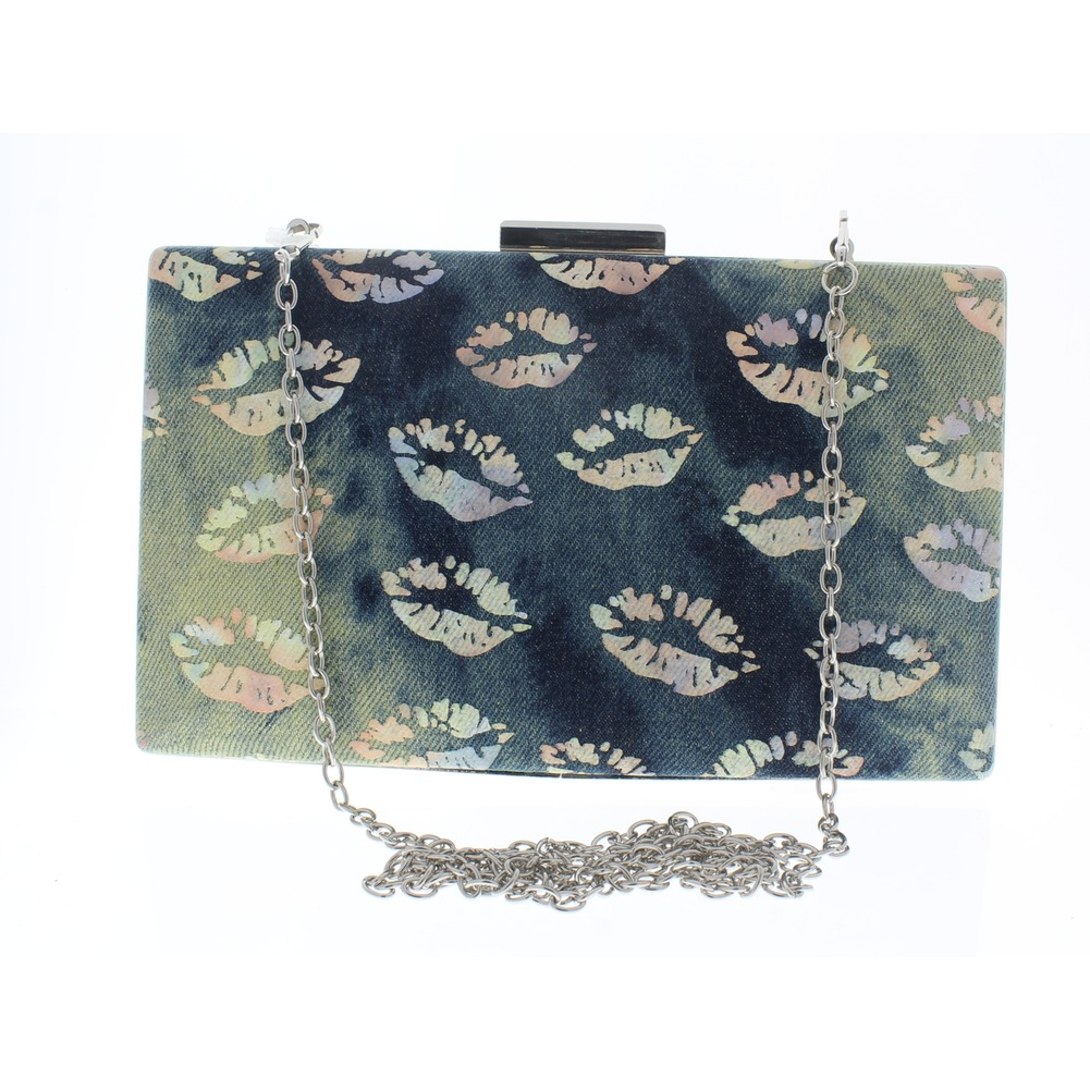 Kissing Lips Denim Hard-Shell Evening Clutch Bag Purse Handbag