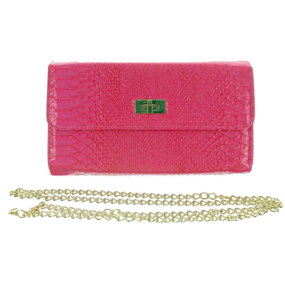 Faux Snake Skin Fuchsia Wallet Evening Clutch Bag Purse Handbag
