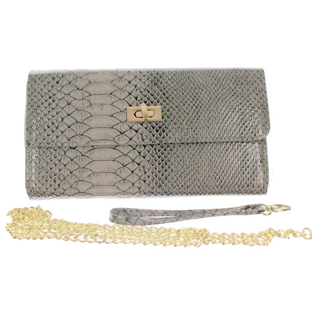 Faux Snake Skin Grey Wallet Evening Clutch Bag Purse Handbag