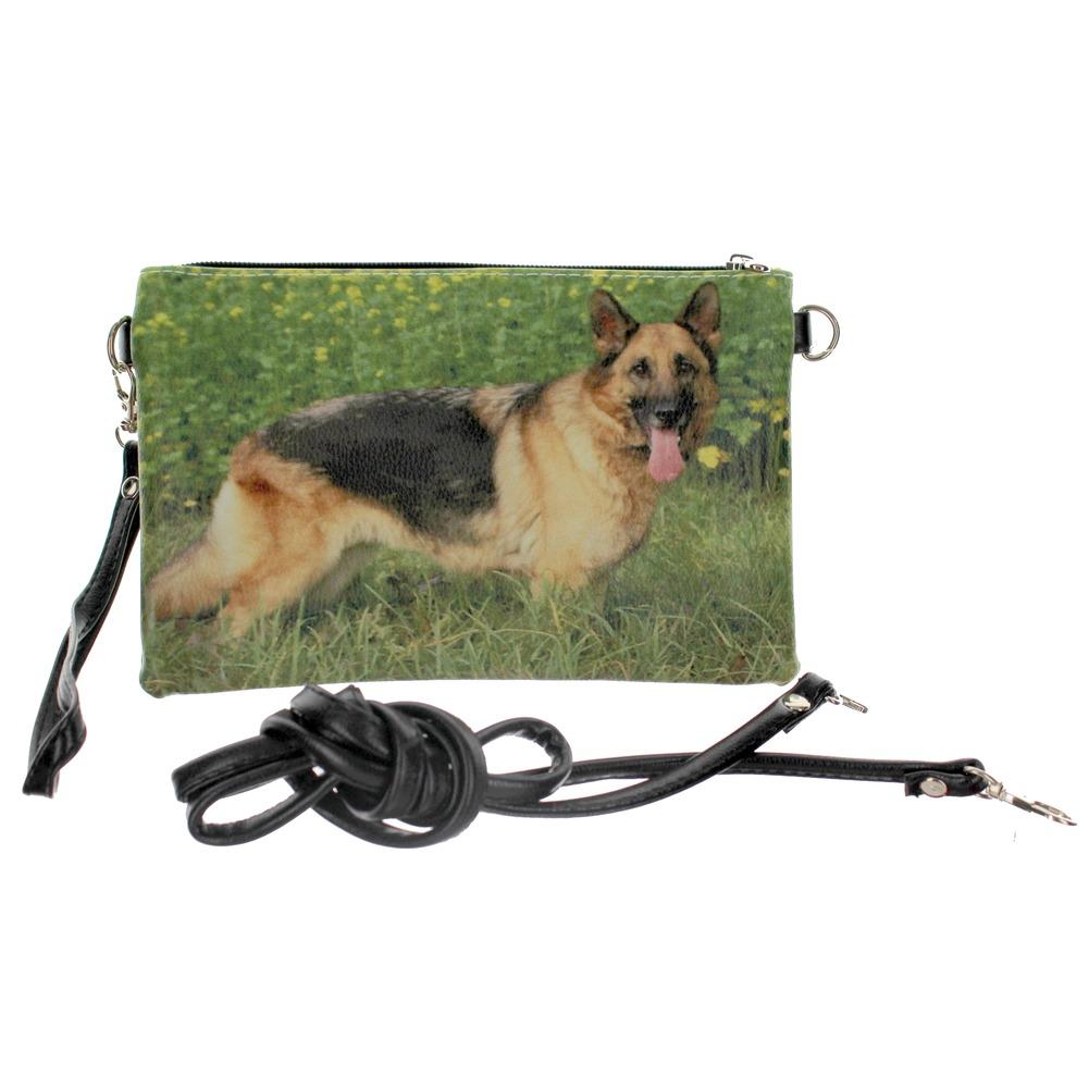 German Sheppard Faux Leather Wristlet Cross body Bag Purse Handbag
