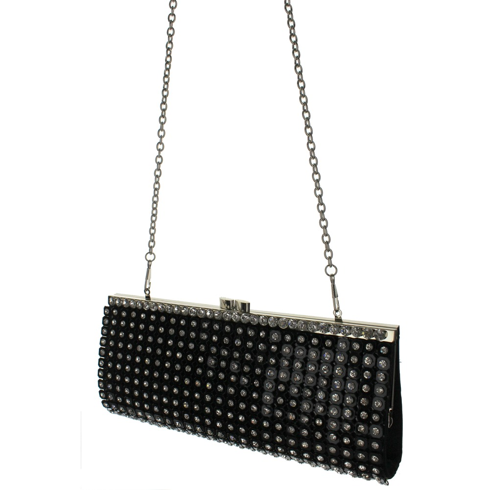 Rhinestone Bling Black Evening Clutch Bag Purse Handbag