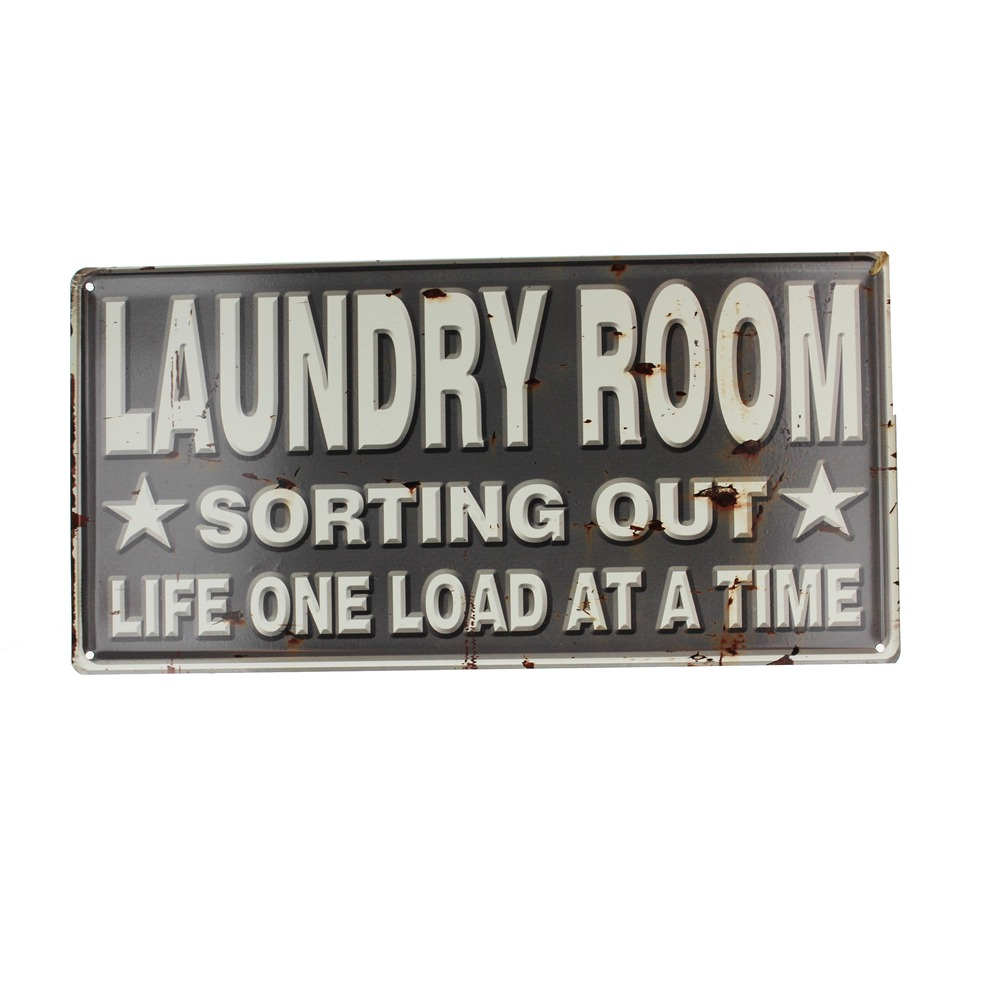 Laundry Drop Your Pants Here Navy Metal Sign Pub Game Room Bar