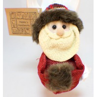 Hanna's Handiworks Plush Rustic Santa Claus Fleece Fur and Fabric Holiday Ornament