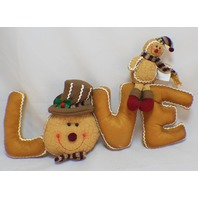 Hanna's Handiworks Plush Gingerbread Love Pillow Table Decoration