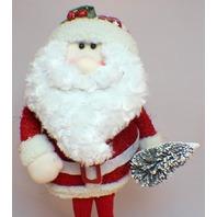 Hanna's Handiworks Plush Weighted Sitting Santa with Winter Pine