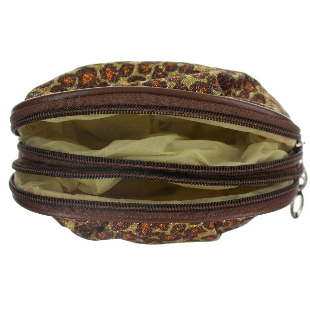 Cosmetic Bag in GlitterLeopard Print Brush or Make-up Bag dual zipper Clutch