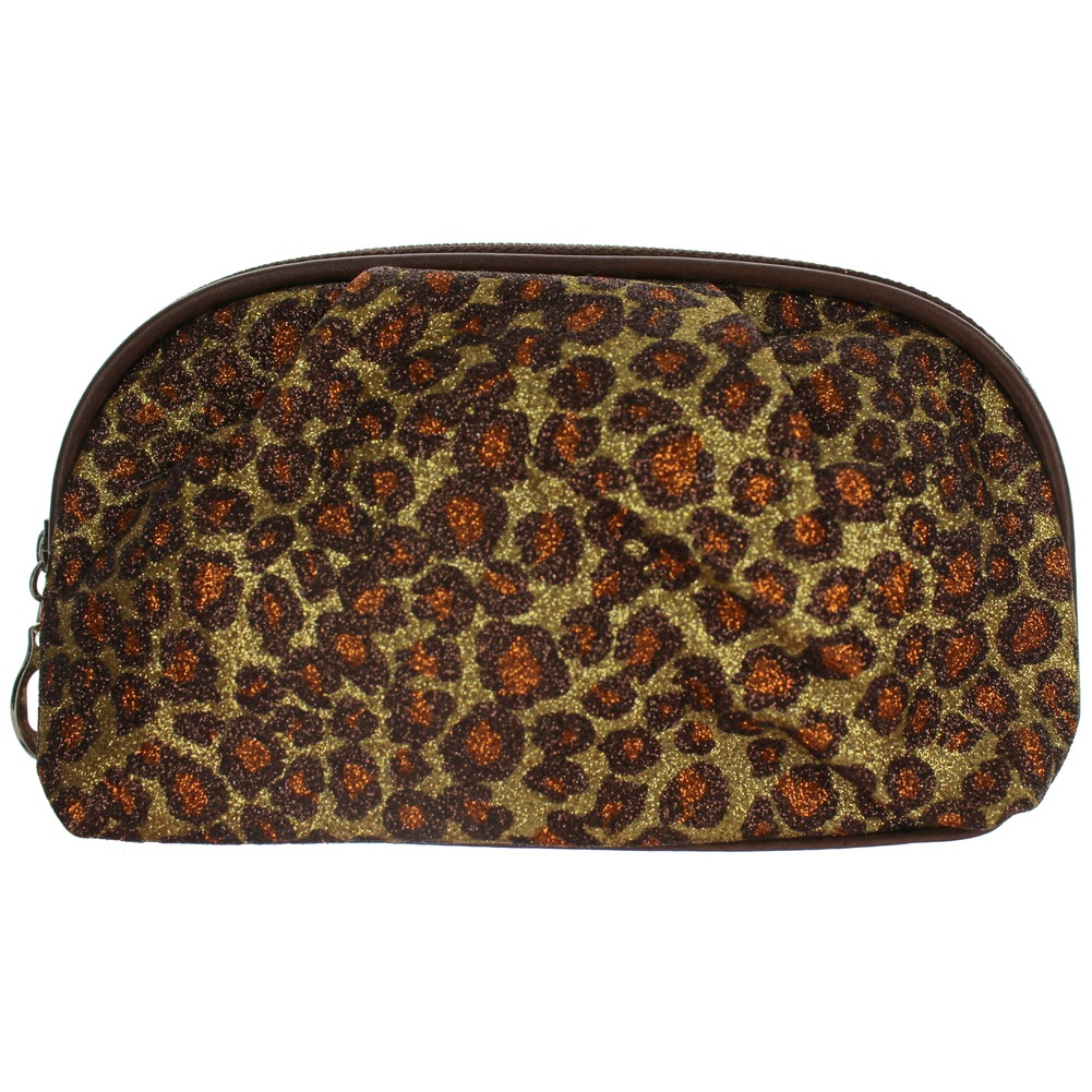 Cosmetic Bag in GlitterLeopard Print Brush or Make-up Bag dual zipper Clutch