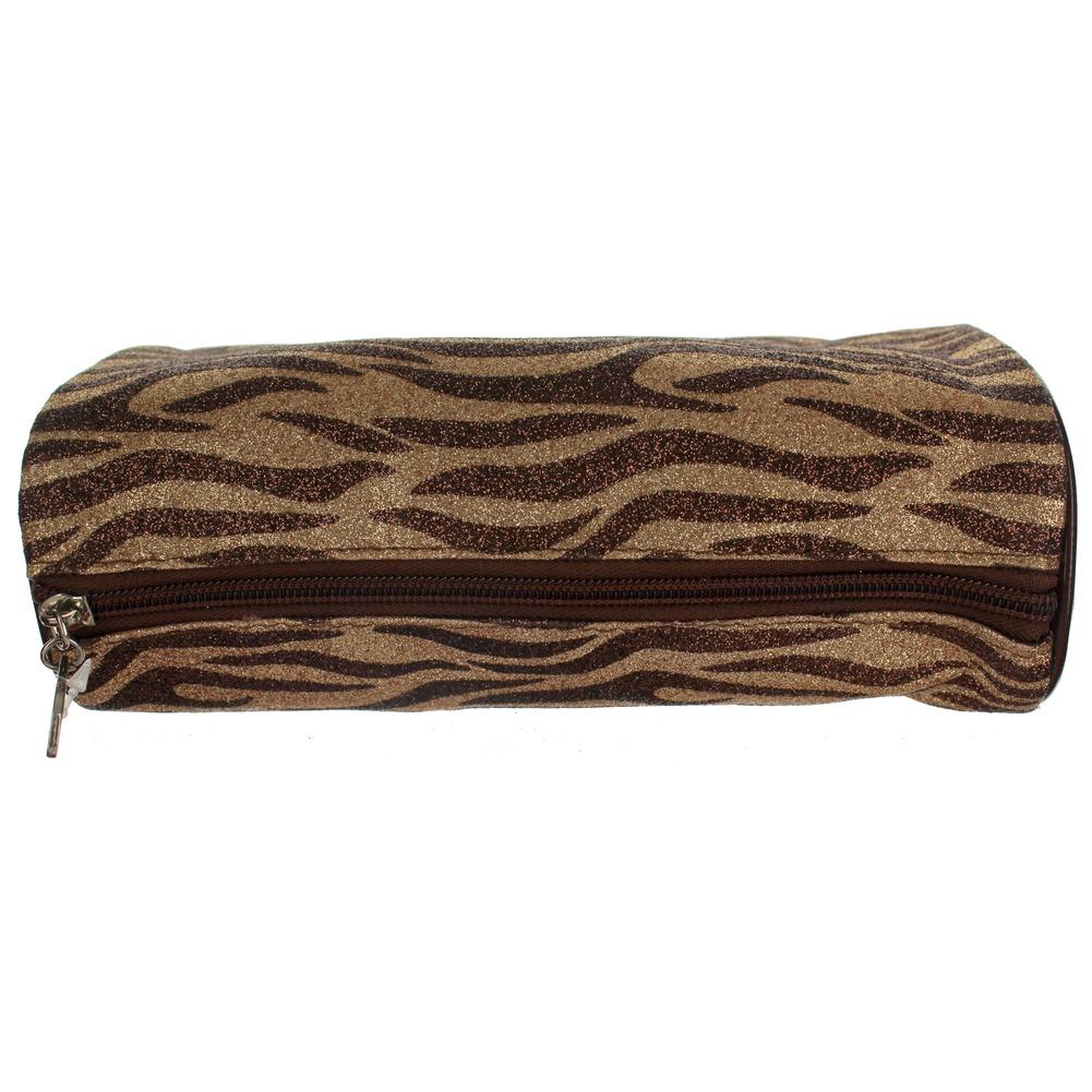 Cosmetic Bag in Glitter Zebra Print Brush or Make-up Bag Clutch