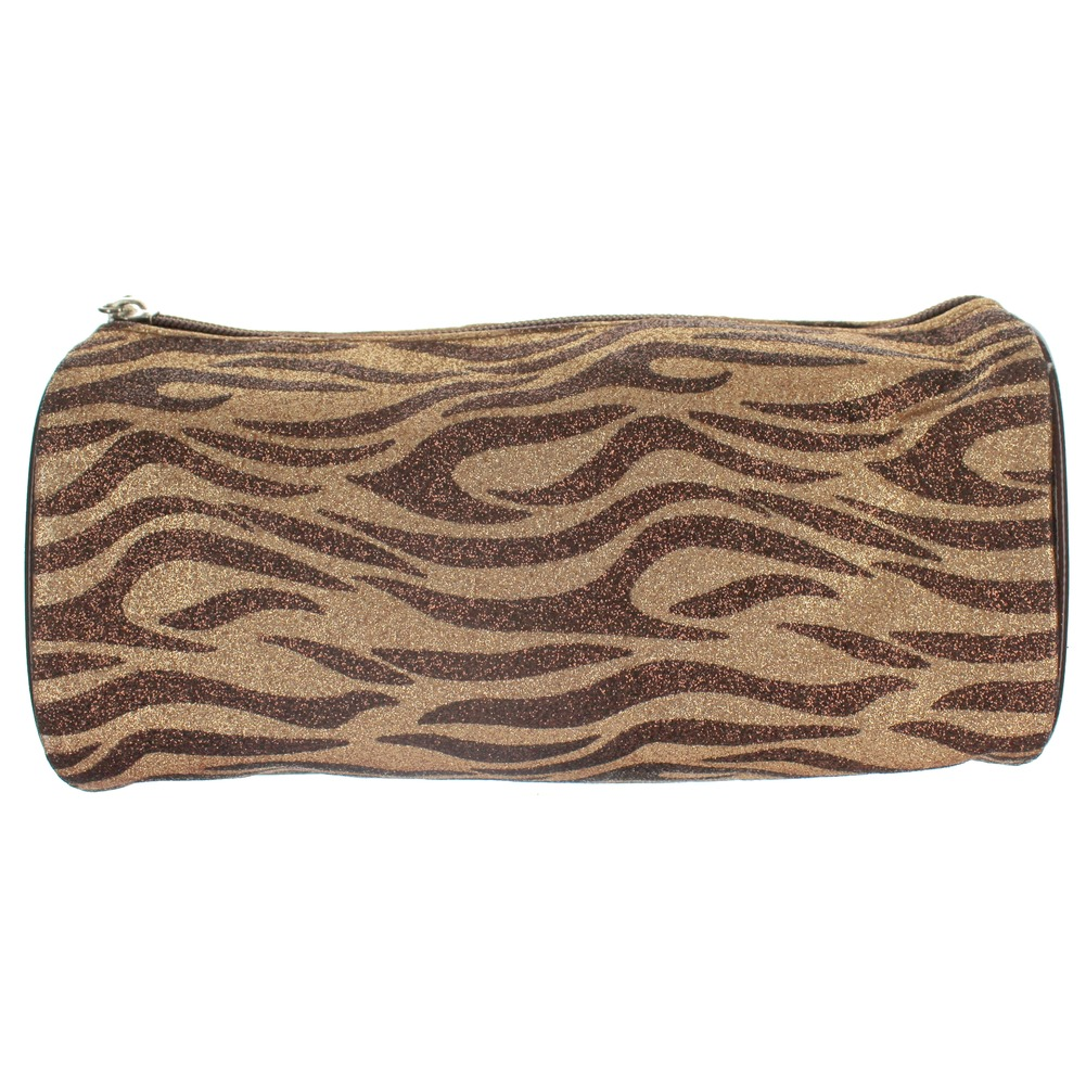 Cosmetic Bag in Glitter Zebra Print Brush or Make-up Bag Clutch
