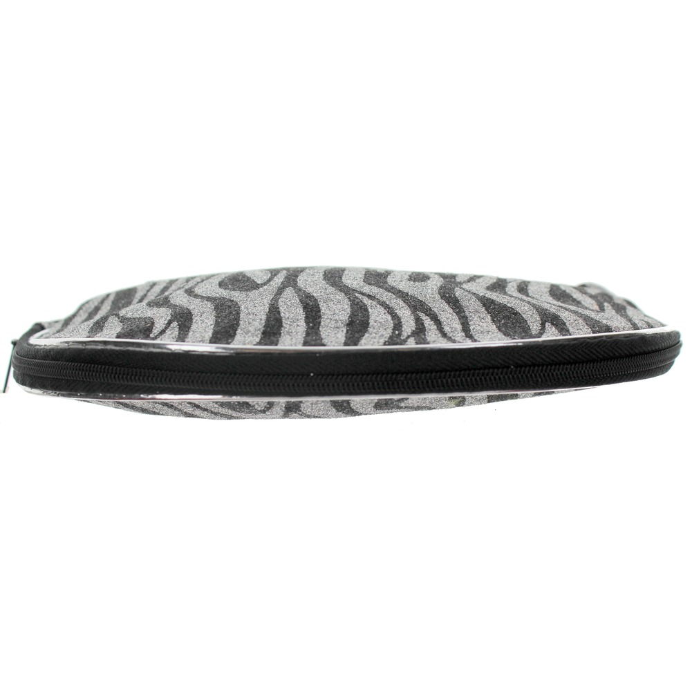 Cosmetic Bag in Glitter Zebra Print Brush or Make-up Bag zipper Clutch