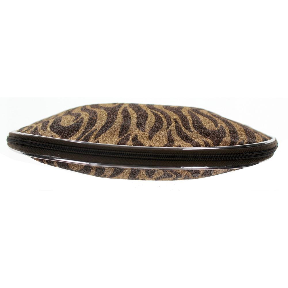 Cosmetic Bag Glitter Zebra Print Brush or Make-up Bag zipper Clutch