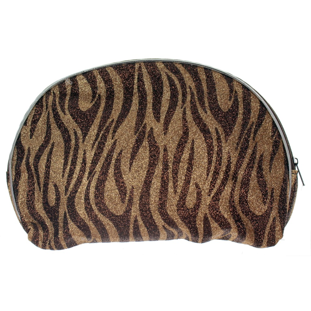 Cosmetic Bag Glitter Zebra Print Brush or Make-up Bag zipper Clutch