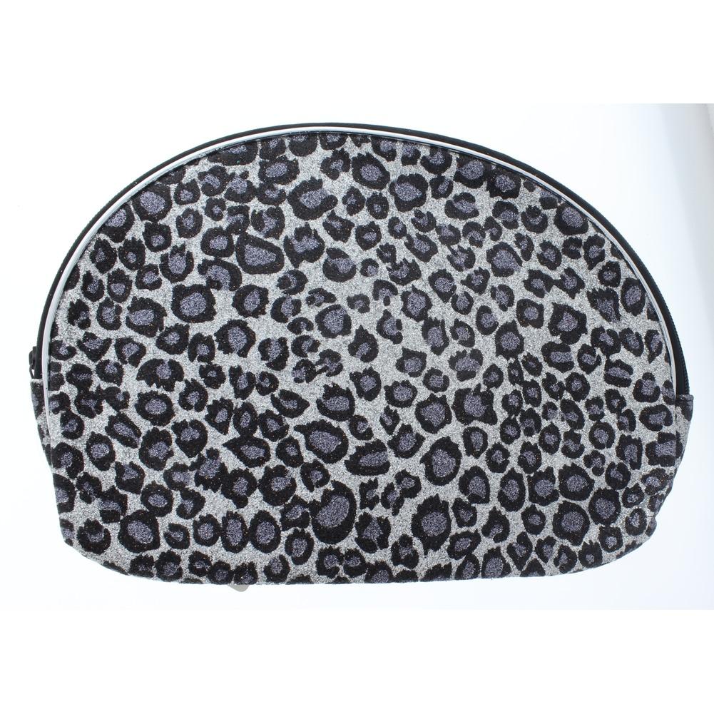 Cosmetic Bag in Glitter Leopard Print Brush or Make-up Bag zipper Clutch