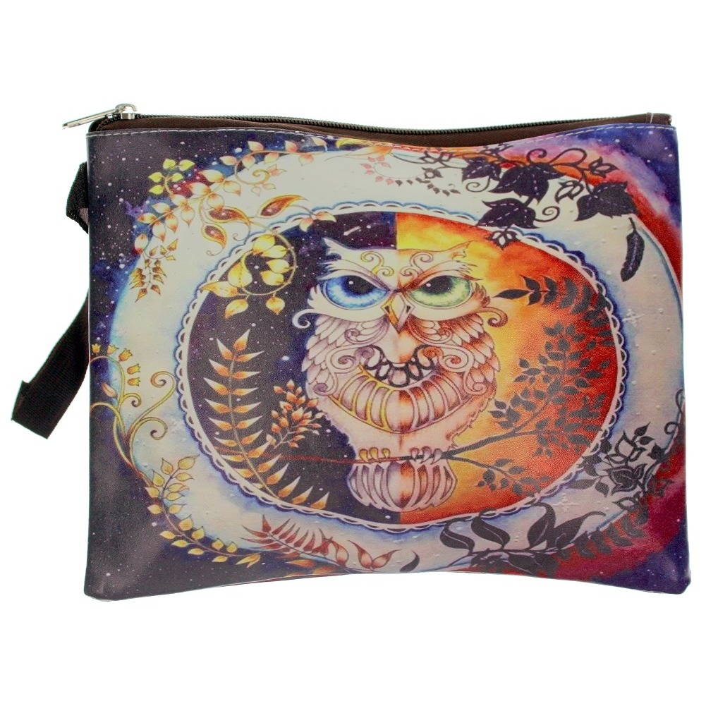 Wise Ole' Owl on Perch Cosmetic Bag Wristlet
