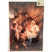 "Victorian Lithograph Print Picture ""Holy Family"" Baby Jesus  16X23"
