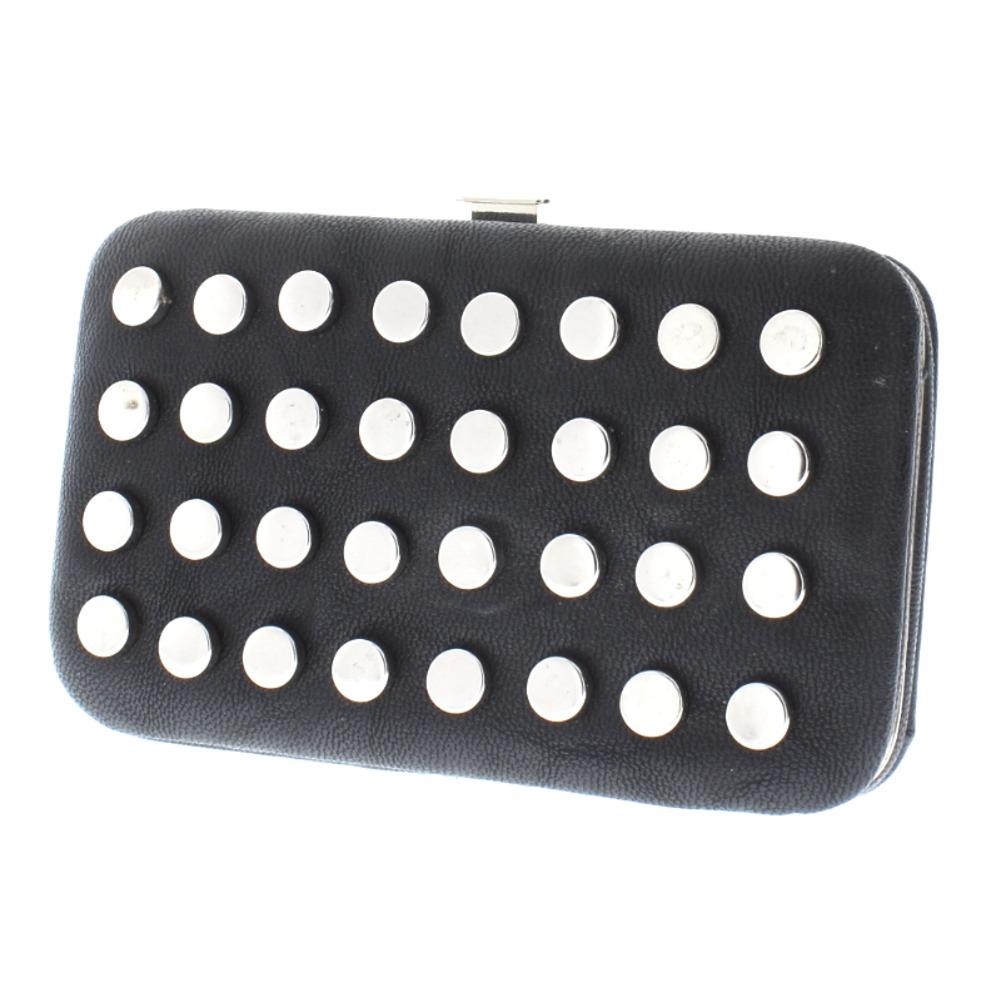 Black Faux Leather Studded Credit Card Business Card Holder Wallet Handbag Purse