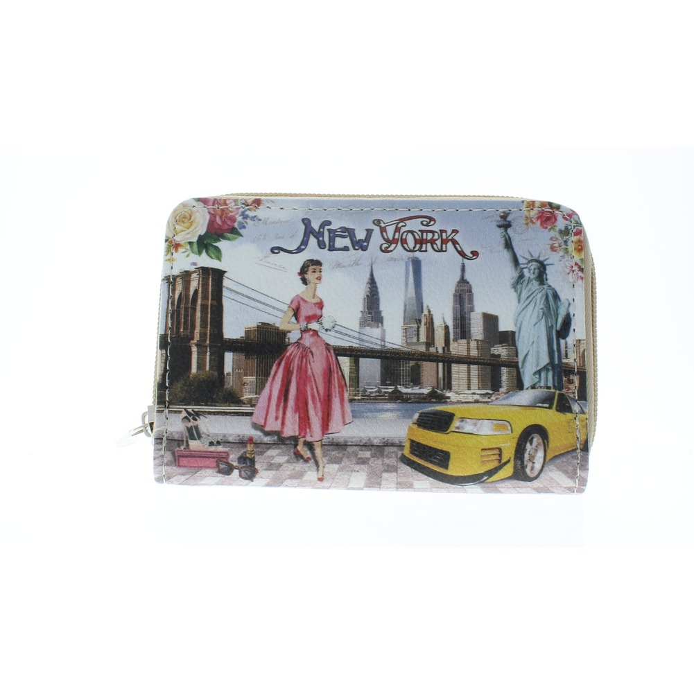 New York Inspired Wallet Faux Leather Wristlet for Purse Handbag