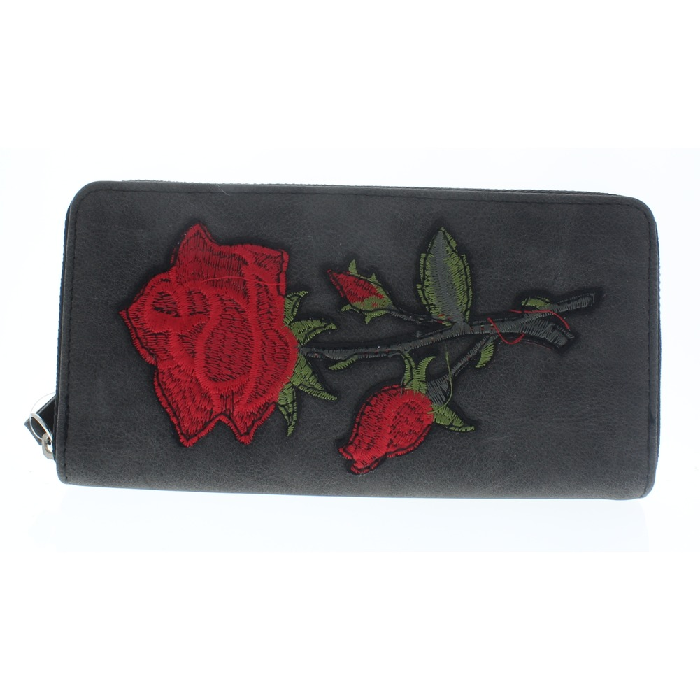 Embroidered Romantic Rose Multi Card Organizer Wallet with Zipper Pocket