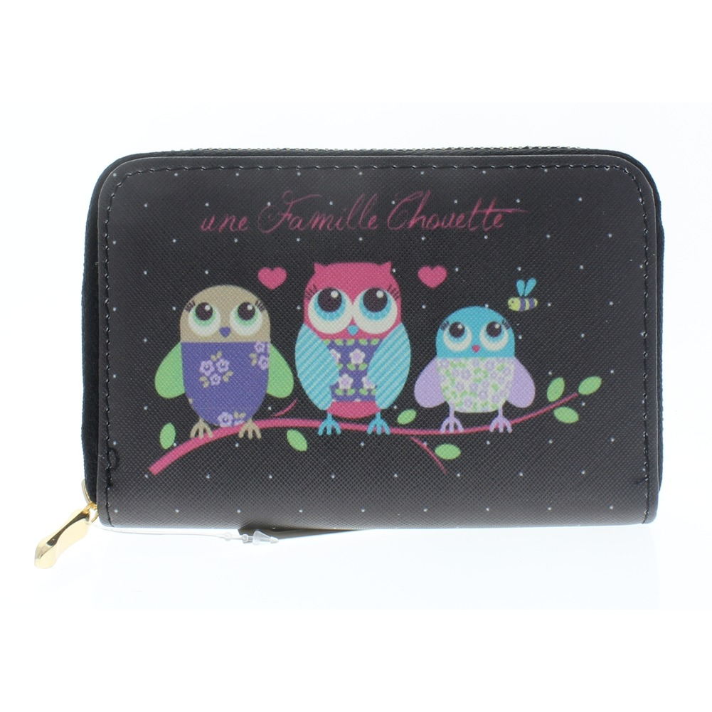 Hoot Hoot Owl Friends Black Wallet Faux Leather Wristlet for Purse Handbag