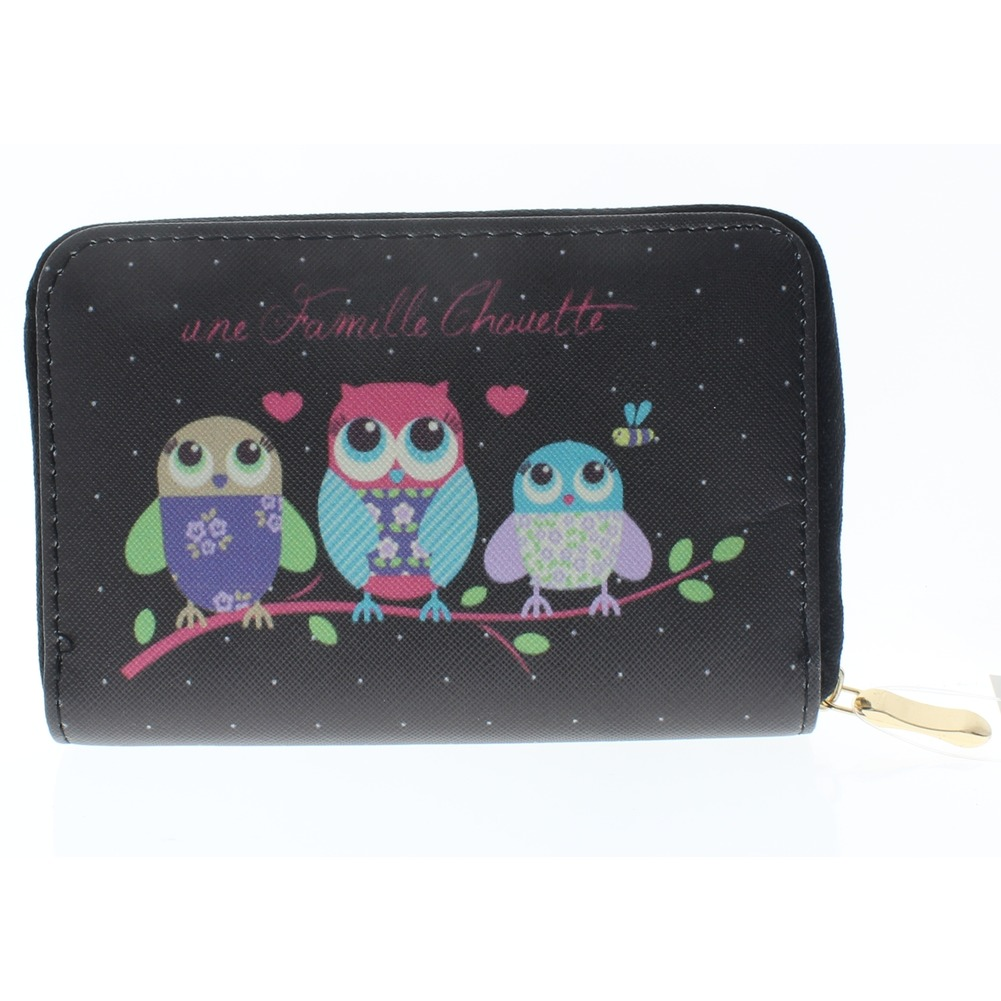 Hoot Hoot Owl Friends Black Wallet Faux Leather Wristlet for Purse Handbag