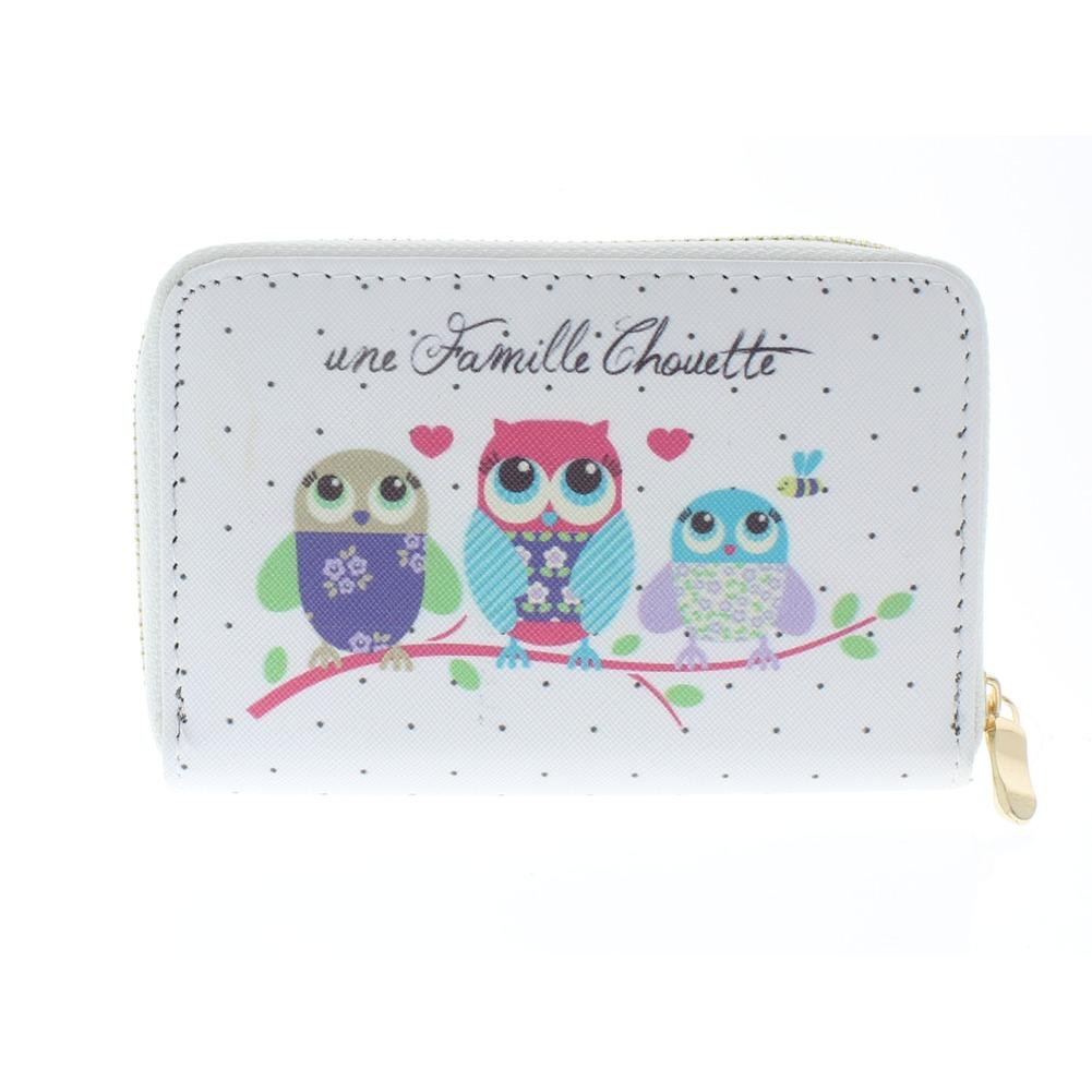 Hoot Hoot Owl Friends White Wallet Faux Leather Wristlet for Purse Handbag