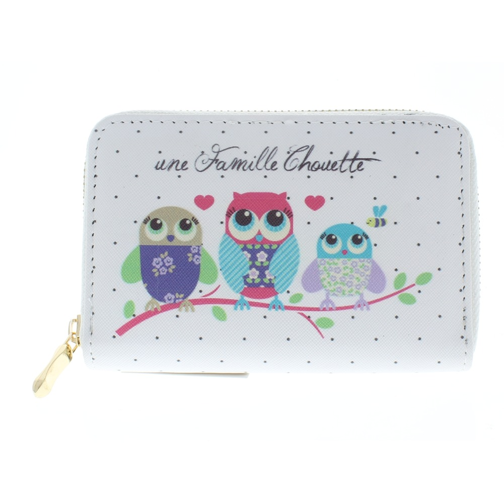 Hoot Hoot Owl Friends White Wallet Faux Leather Wristlet for Purse Handbag