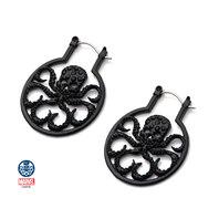Inox Jewelry Women's Stainless Steel Black IP & Black Gem Hydra Hoop Earrings