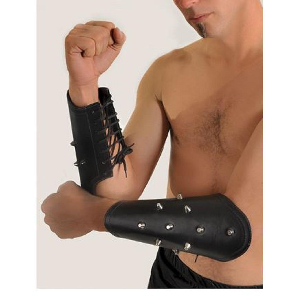 Leather Arm Guards  Cuff Pair of  Spiked Gladiator Slave Wrist Bracers Costume
