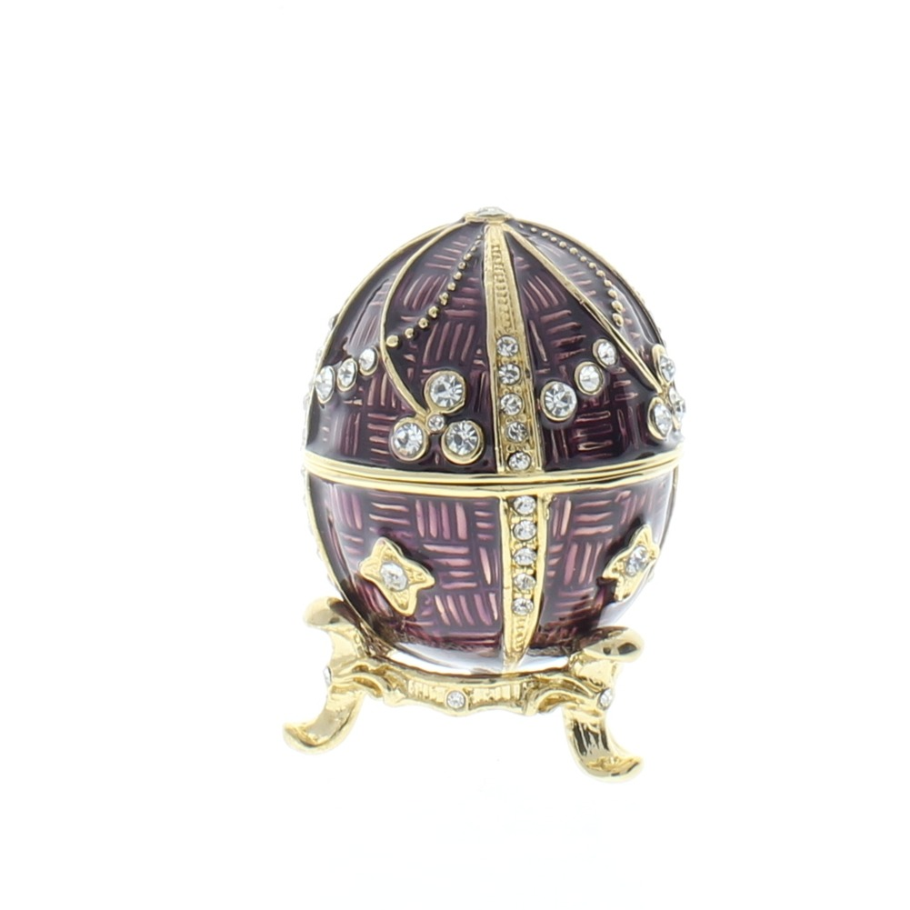 Faberge Plum Purple Egg and Stand Trinket Box with Rhinestone Bling
