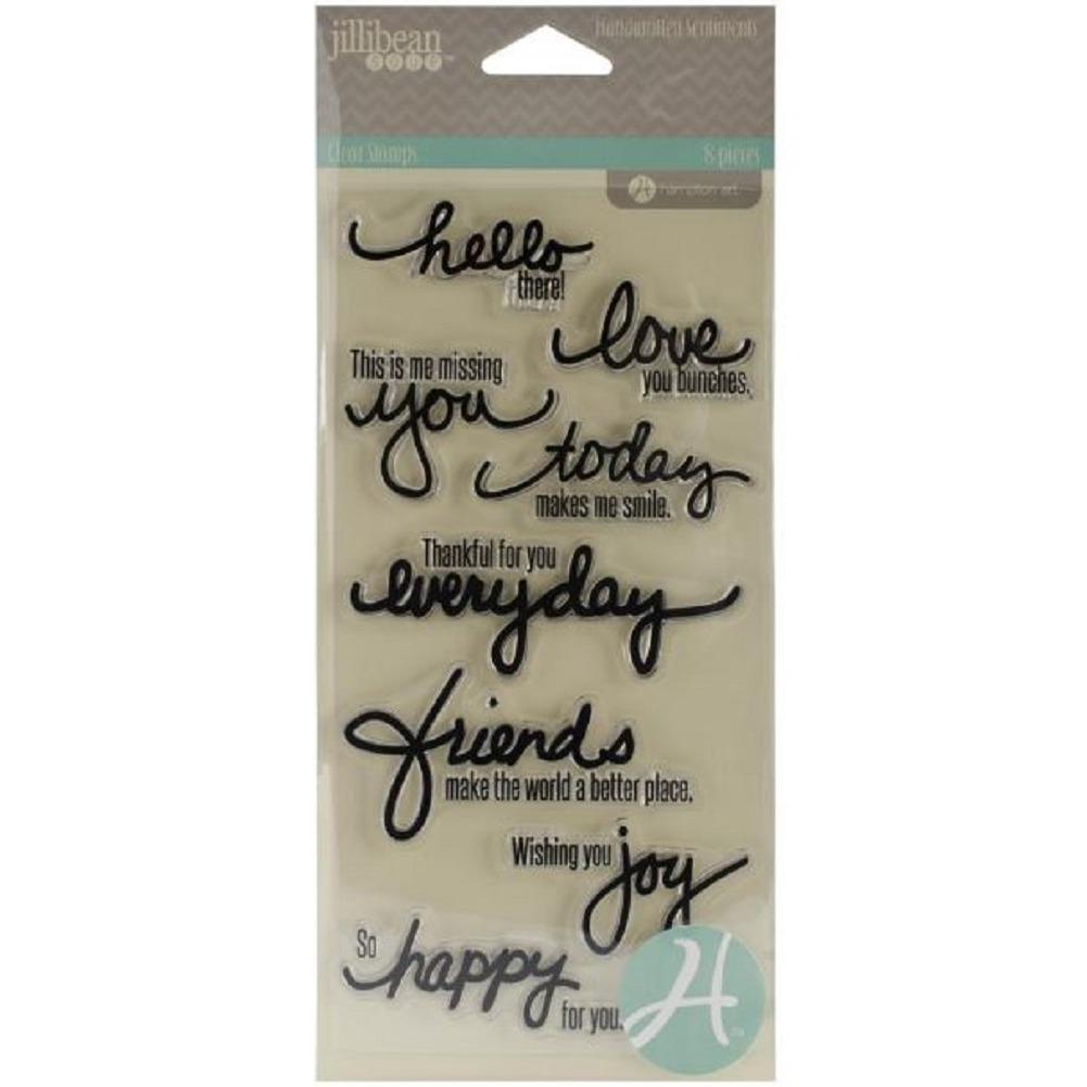 Jillibean Soup Hampton Art Handwritten Sentiments Clear Cling Rubber Stamp Set