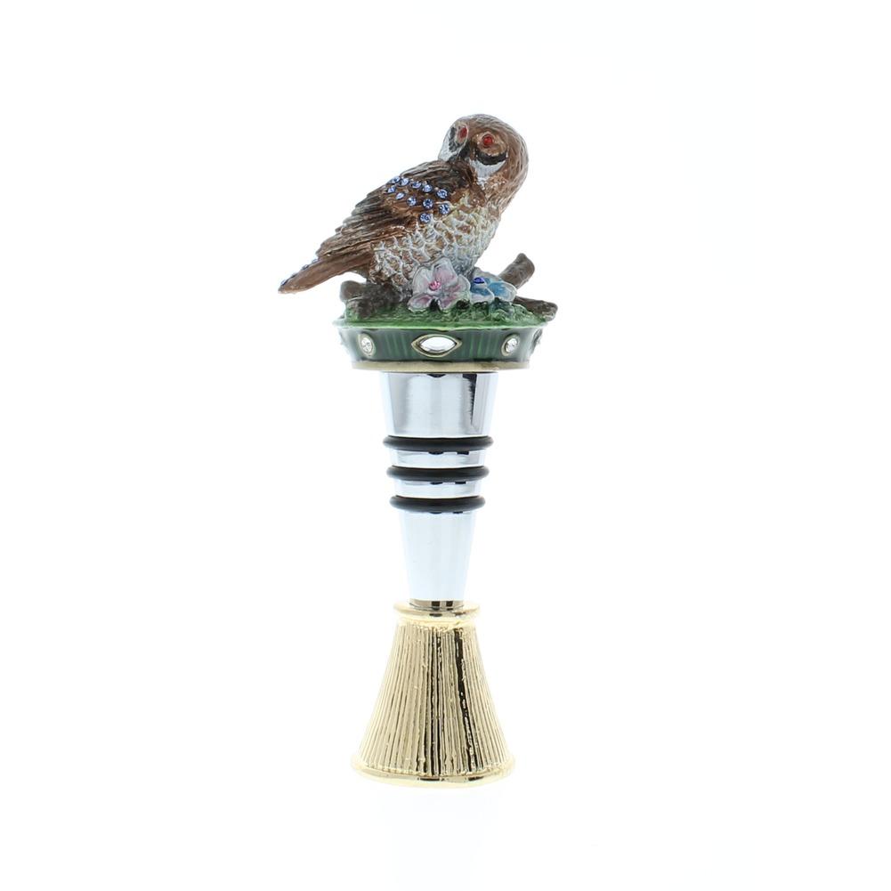Hoot Hoot Owl on a Branch Bird Rhinestone Bling Wine Bottle Topper Stopper