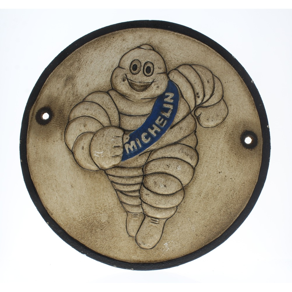 Tire Man Michelin Heavy Cast Iron Decorative Metal Wall Plaque Garage Sign
