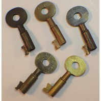 5 Pc Brass Key Set Older Style With Antique Finish Letter And Numbers
