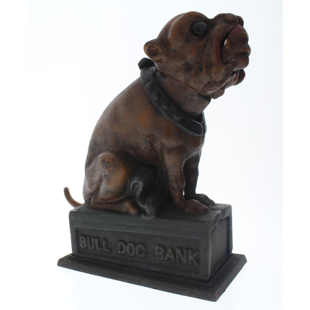 Cast Iron Bull Dog Mechanical Coin Bank  Antique Finish