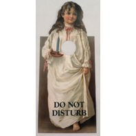 Door Knob Note Hanger Victorian Card Do Not Disturb Little Girl with a Candle