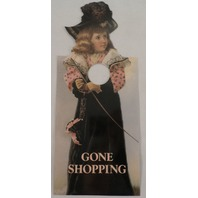 Door Knob Note Hanger Victorian Card Gone Shopping Fashionista Sign