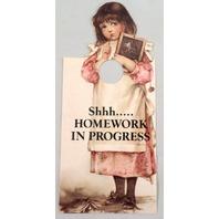 Door Knob Note Hager Victorian Card Shhh  Homework in Progress Homeschool Notice Sign