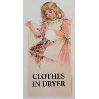 Door Knob Note Hanger Victorian Card Clothes in Dryer Notice Sign
