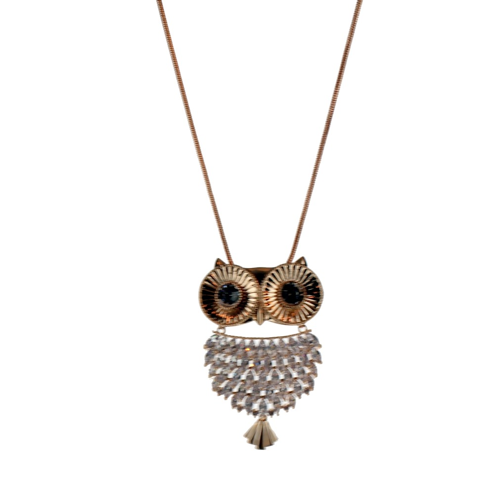 Women's Long Dangle Drop Necklace Rose Gold Tone Hoot Hoot Owl